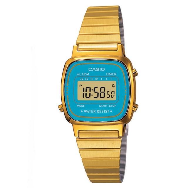 【CASIO】金色復古時尚錶-藍(LA-670WGA-2)