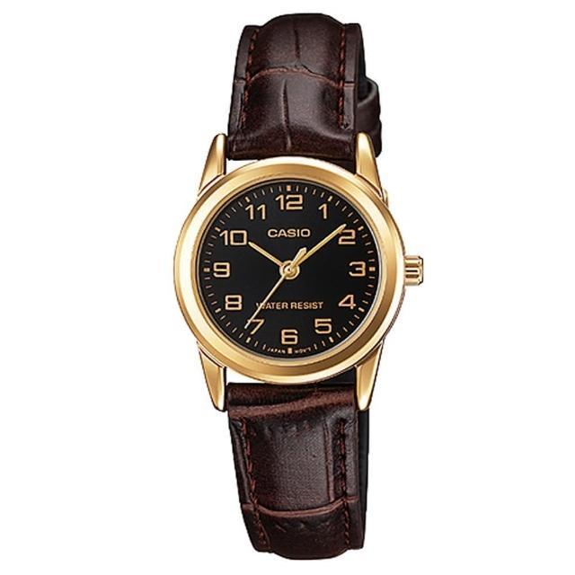 【CASIO】經典淑女時裝時尚金數字指針真皮腕錶(LTP-V001GL-1B)