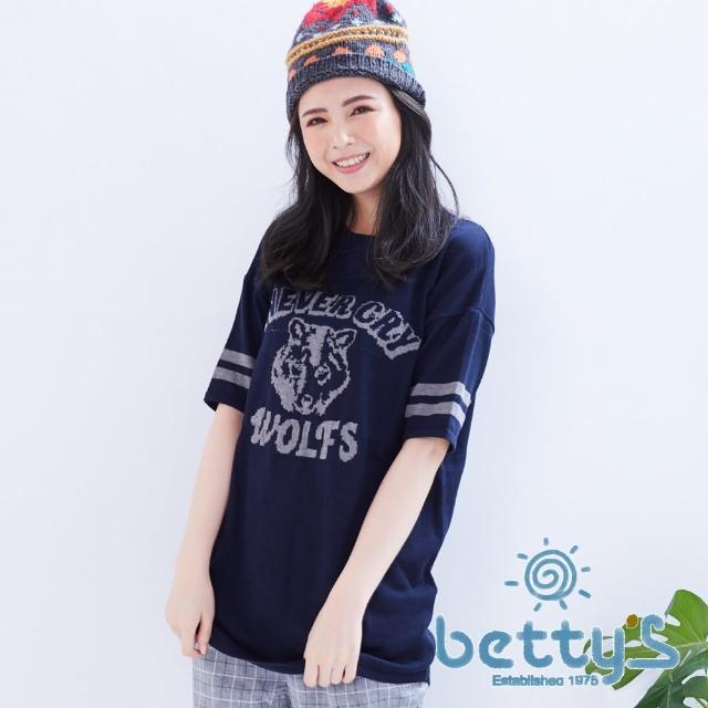 【betty's貝蒂思】美式風格野狼五分袖長版針織衫(藍色)