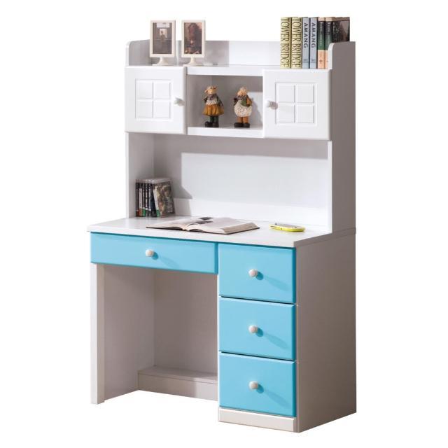 【顛覆設計】童話3尺粉藍雙色書桌組(上+下)