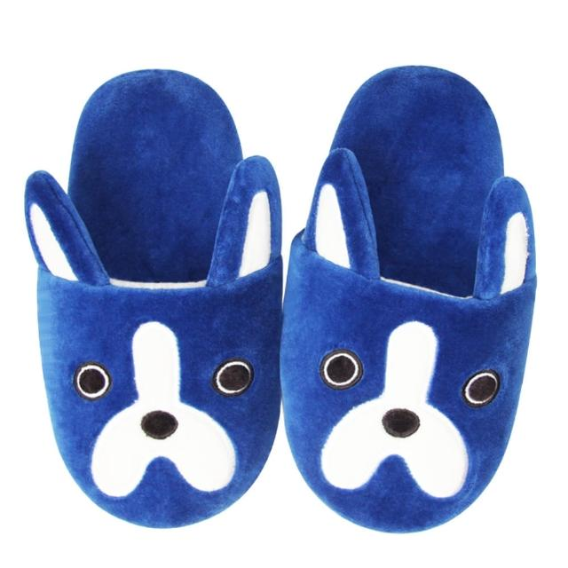 【Yvonne Collection】狗狗胖胖拖鞋(深藍)