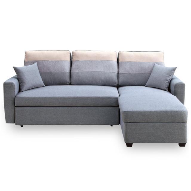 【時尚屋】丹尼絲灰色小L布沙發床組 MT7-324-3(免組裝 免運費 沙發床)