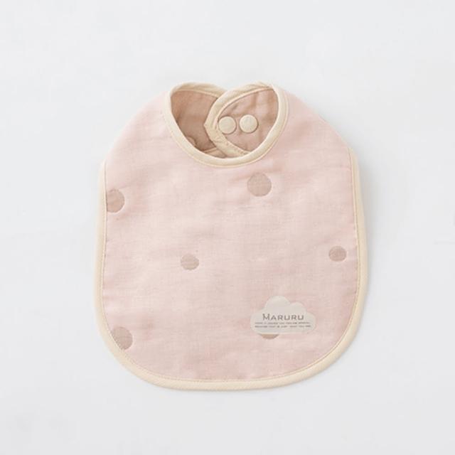 【MARURU】日本五層紗口水圍兜 嬰兒粉(日本五層紗圍兜-多層紗口水巾)
