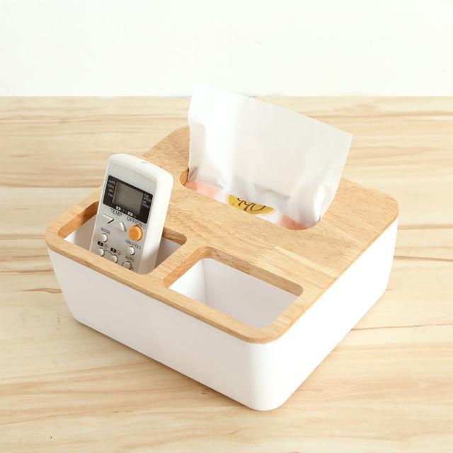 【巴芙洛】震撼價-橡木面紙盒-大(方形三格木蓋)