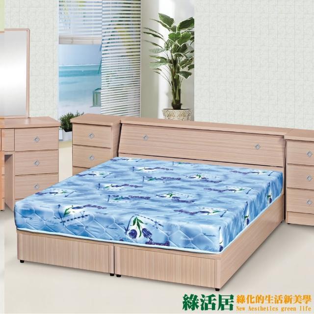 【綠活居】卡比  時尚6尺雙人加大床台組合(六色可選+床頭箱+六分木床底)