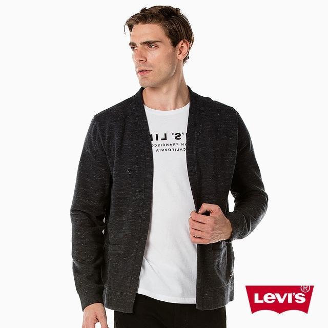 【LEVIS】男款 Line 8 V領開襟毛衣外套 / 黑色