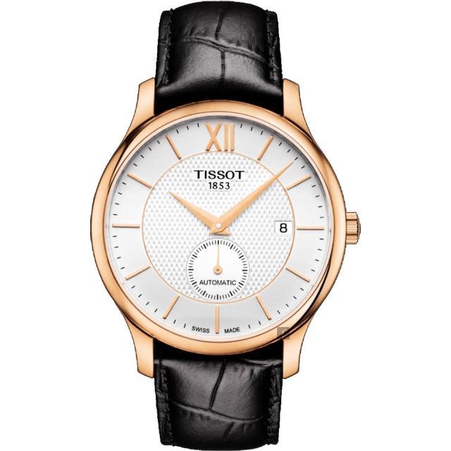 【TISSOT 天梭】Tradition 小秒針機械錶-銀x玫塊金框x黑/40mm(T0634283603800)