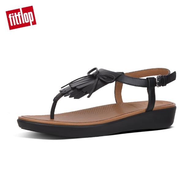 【FitFlop】TIA TM FRINGE TOE THONG SANDALS - LEATHER(黑色)