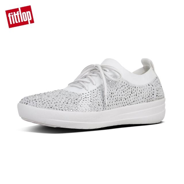 【FitFlop】F-SPORTY UBERKNIT CRYSTAL SNEAKERS(金屬銀/都會白)