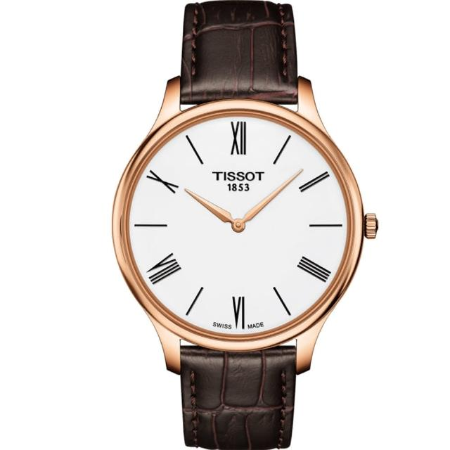 【TISSOT 天梭】T-TRADITION超薄紳士石英錶(T0634093601800)
