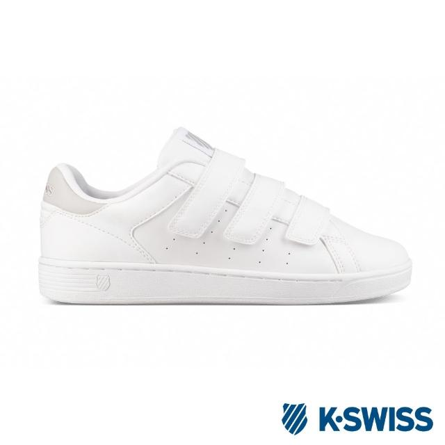 【K-SWISS】Clean Court 3-Strap S CMF休閒運動鞋-女-白/灰(96187-181)
