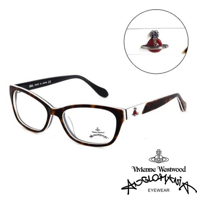 【Vivienne Westwood】ANGLO MANIA系列-優雅土星造型英倫風光學眼鏡(AN258-02-咖琥珀)