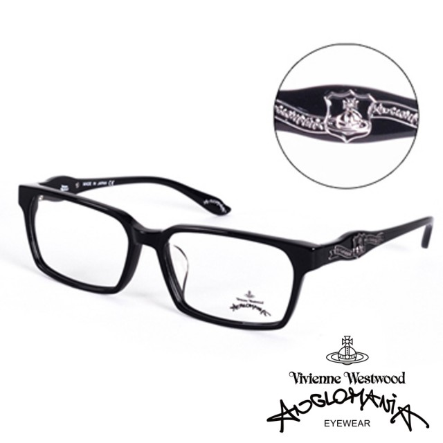 【Vivienne Westwood】ANGLO MANIA系列-英倫龐克徽章光學眼鏡(AN241-01-黑)