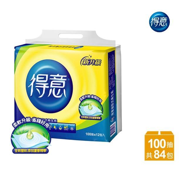 【得意】連續抽取式花紋衛生紙(100抽*12包*7袋)/