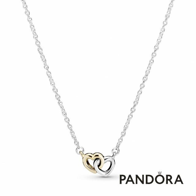 【Pandora官方直營】雙色相連愛心項鏈/