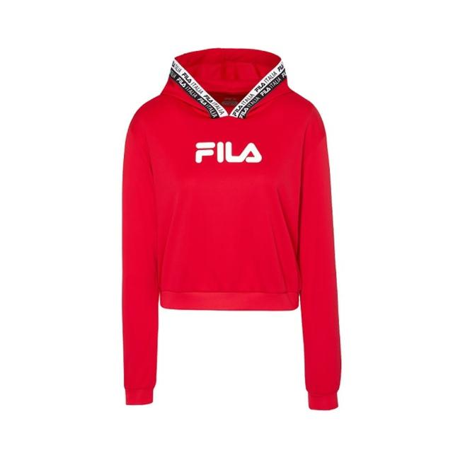 【FILA】女抗UV吸濕排汗連帽T恤-紅(5TEV-1318-RD)/