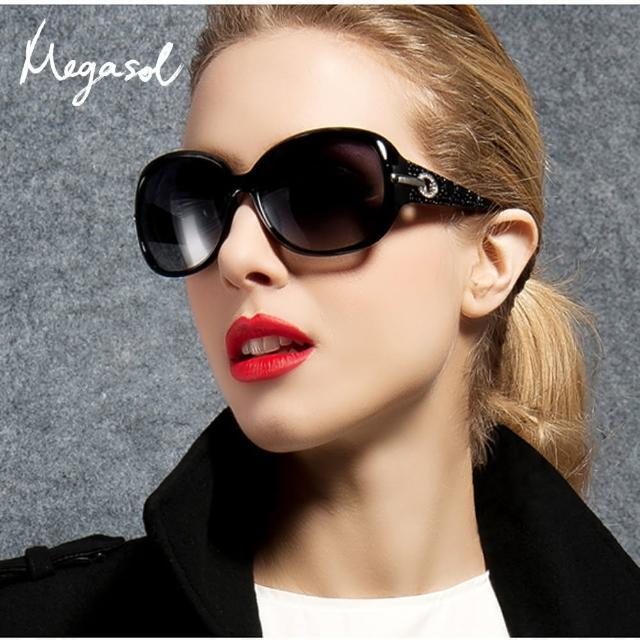 【MEGASOL】寶麗萊UV400偏光太陽眼鏡(設計師晶鑽款MS4126-5色任選)/