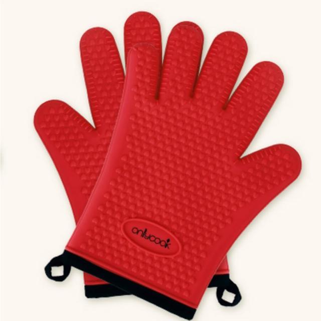 【PUSH!】廚房餐具用品防燙矽膠手套微波爐烤箱隔熱手套耐高溫(廚房防熱手套D165)/