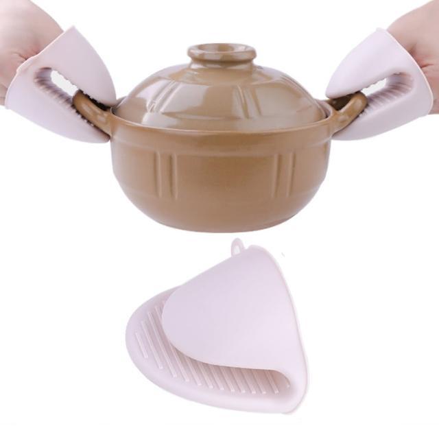 【PUSH!】廚房用品加厚防燙夾隔熱夾矽膠隔熱手套(2入D143)/