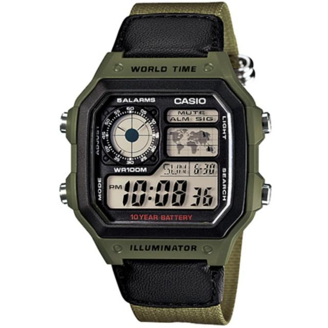 【CASIO 卡西歐】世界地圖10年電力電子錶(AE-1200WHB-3B)
