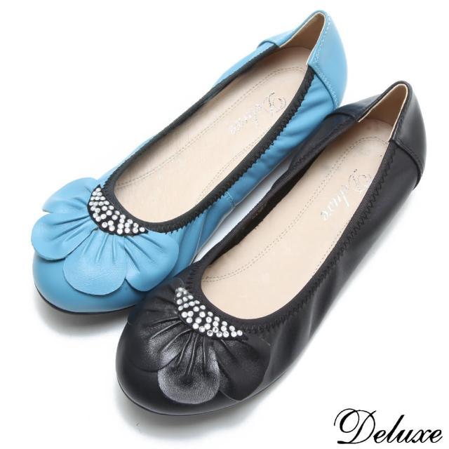 【Deluxe】全真皮可愛花瓣燙鑽平底娃娃鞋(藍-黑)