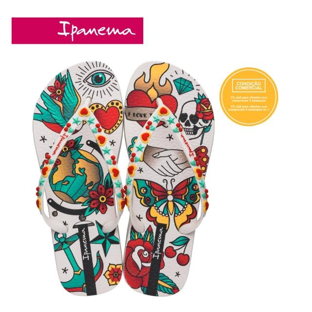 【IPANEMA】Women Ipanema SEM IGUAL TATTOO刺繡印花系列夾腳拖鞋(白-2645421630)
