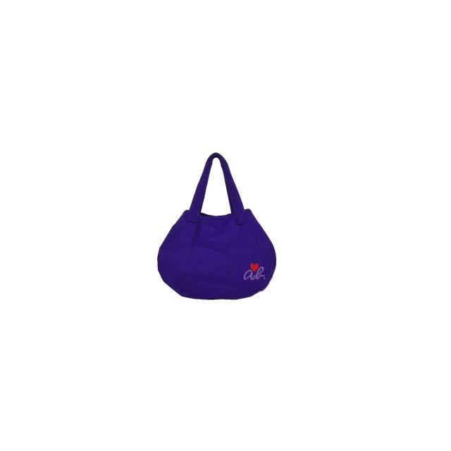 【agnes b.】ab heart 絨布兩用造型包(大/紫)