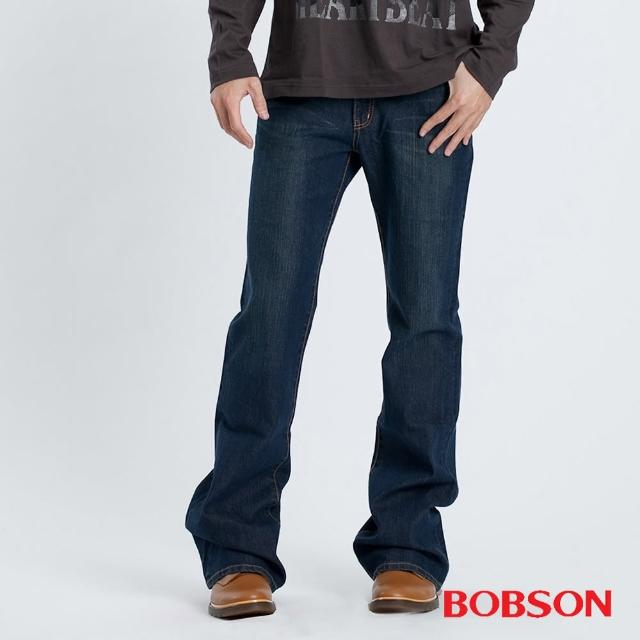 【BOBSON】男款貓鬚伸縮喇叭褲(藍53)