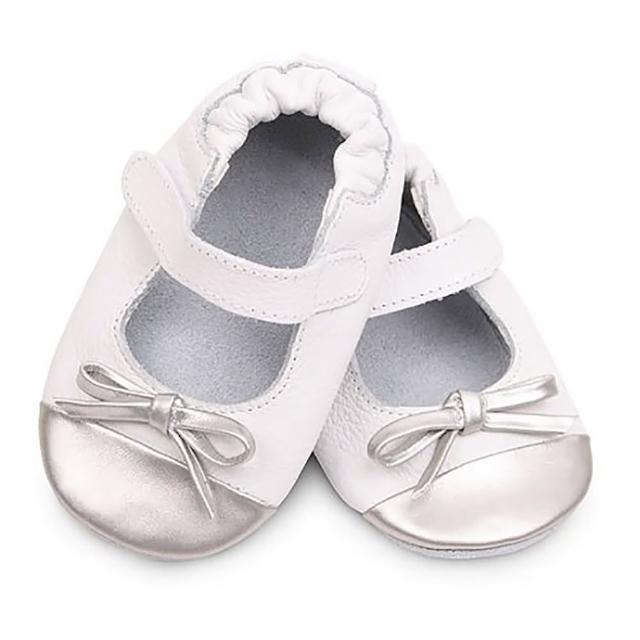 【shooshoos】安全無毒真皮健康手工學步鞋/嬰兒鞋/室內鞋/室內保暖鞋__銀白芭蕾_VWH80(公司貨_軟質)