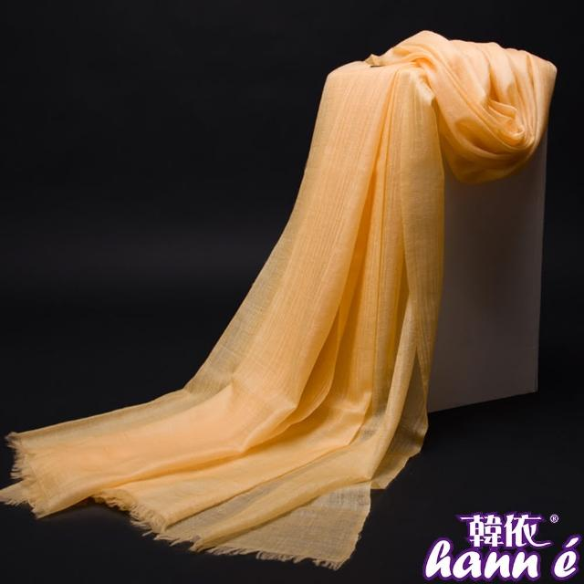 【韓依 HANN.E】全球限量200支紗100%Cashmere穿戒披肩(超大規格工藝披肩圍巾米黃色GR102Y-1)