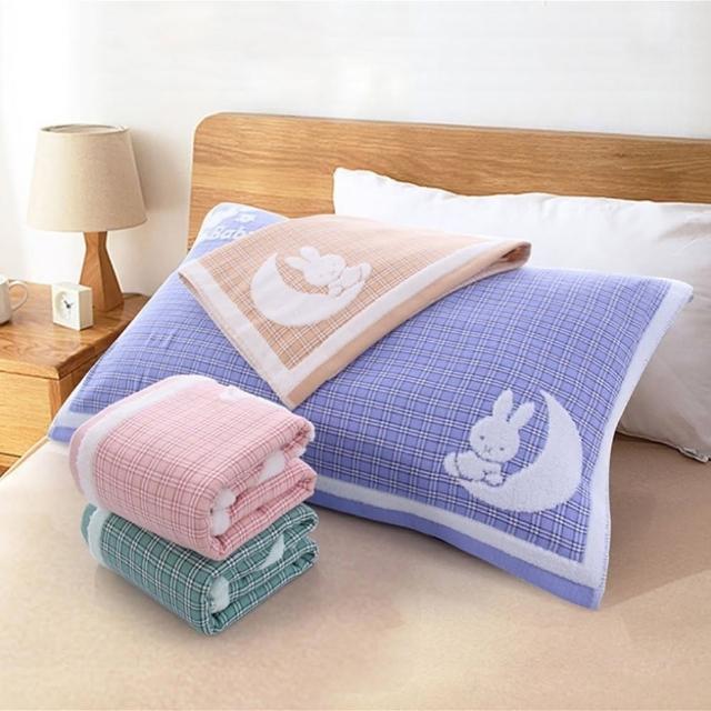 【Jun Jun】無捻紗全棉加大加厚雙面緹花枕頭巾-月亮兔 旅行用枕頭隔離巾(2入)