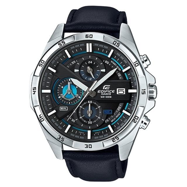 【CASIO】EDIFICE 都會時尚西裝穿搭真皮指針腕錶(EFR-556L-1A)