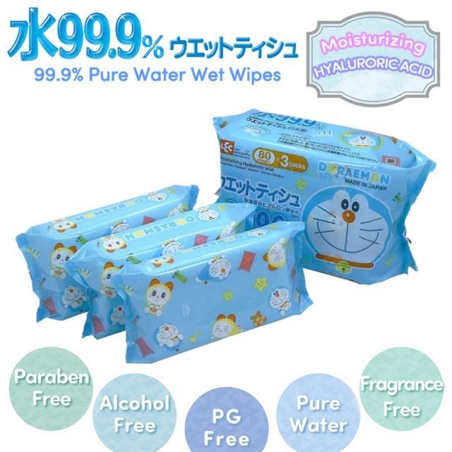 【LEC】LEC 哆啦A夢 99.9%純水濕紙巾 80枚x3包(日本製純水濕巾)