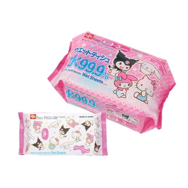 【LEC】LEC 三麗鷗 99.9%純水濕紙巾 80枚x3包(日本製純水濕巾)