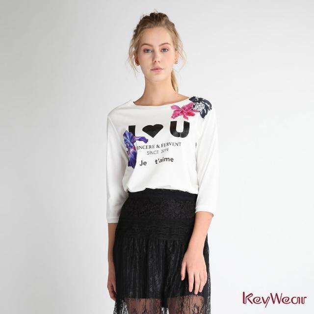 【KeyWear 奇威名品】100%純棉繡花簡約七分袖上衣
