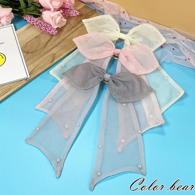 【卡樂熊】童趣鑲邊珍珠蕾絲蝶結造型自動夾/髮夾(三色)
