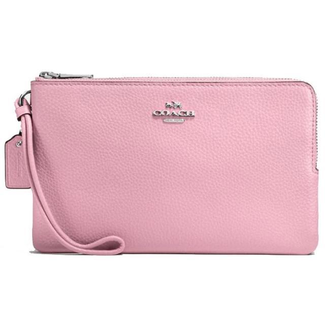 【COACH】粉色皮革大款雙拉鍊手拿包