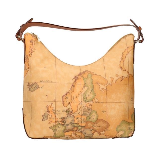 【Alviero Martini】義大利地圖包 短把肩揹包(地圖黃)
