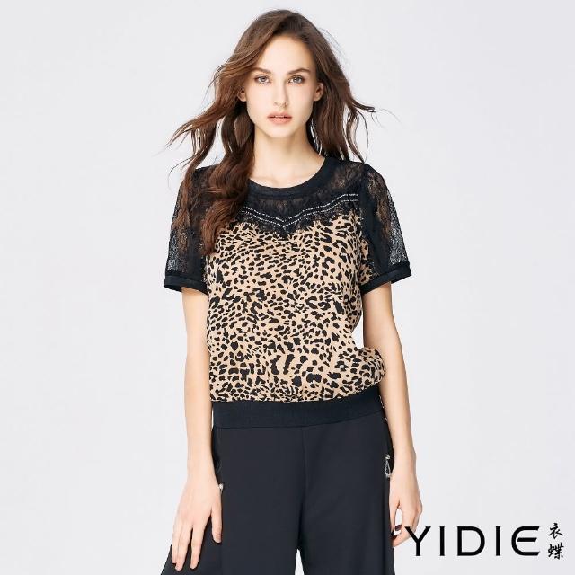 【YIDIE 衣蝶】豹紋拼接蕾絲袖雪紡上衣-黑