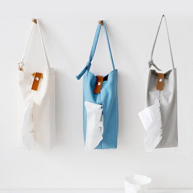 【E.City】北歐風布藝皮釦紙巾掛袋