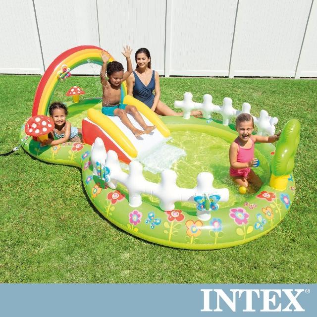 【INTEX】彩虹花園戲水池/滑水道290x180x104cm-450L適用2歲+(57154NP)