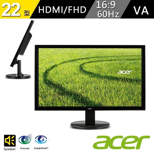 【Acer 宏碁】K222HQL E 22型 抗藍光螢幕