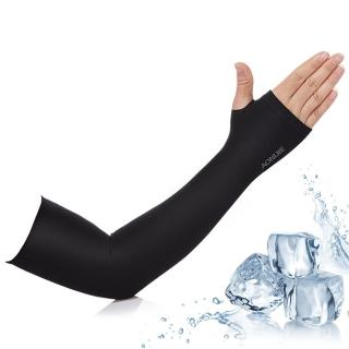【活力揚邑】指孔涼感萊卡袖套防曬UPF50抗UV防蚊吸濕排汗自行車路跑登山臂套-個性黑