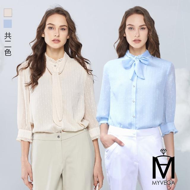 【MYVEGA 麥雪爾】MA銀絲線點點燒花綁帶雪紡上衣-米/淺藍(共二色)
