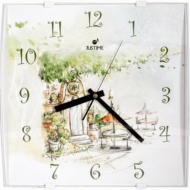 【鐘情坊 JUSTIME】日韓畫風系列方型時鐘 清晰易讀 靜音掛鐘(靜音滑行省電 方形時鐘 壁鐘 家飾品掛鐘)