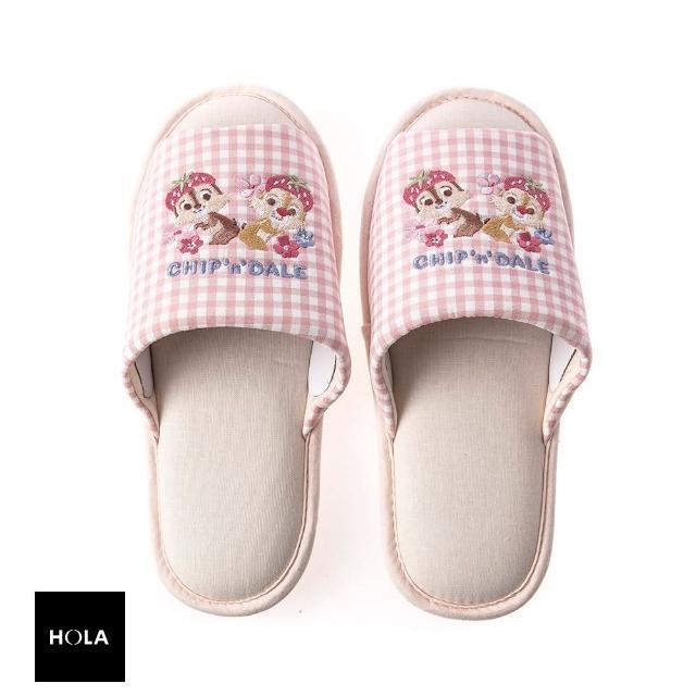 【HOLA】迪士尼系列粉萌季刺繡拖鞋-奇奇蒂蒂 L