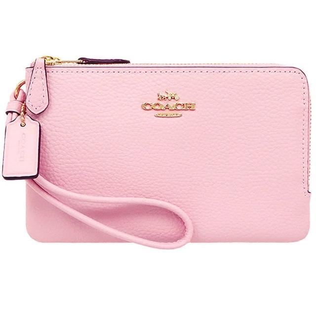 【COACH】粉紅皮革小款雙拉鍊手拿包
