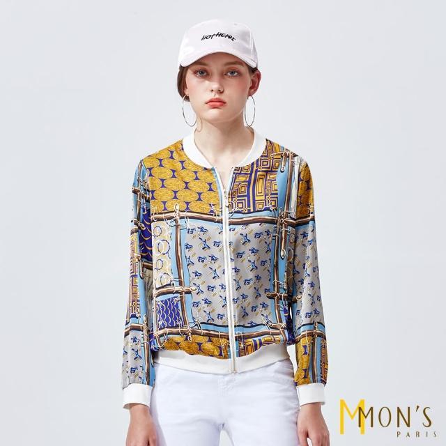 【MON'S】印花雪紡時尚棒球外套