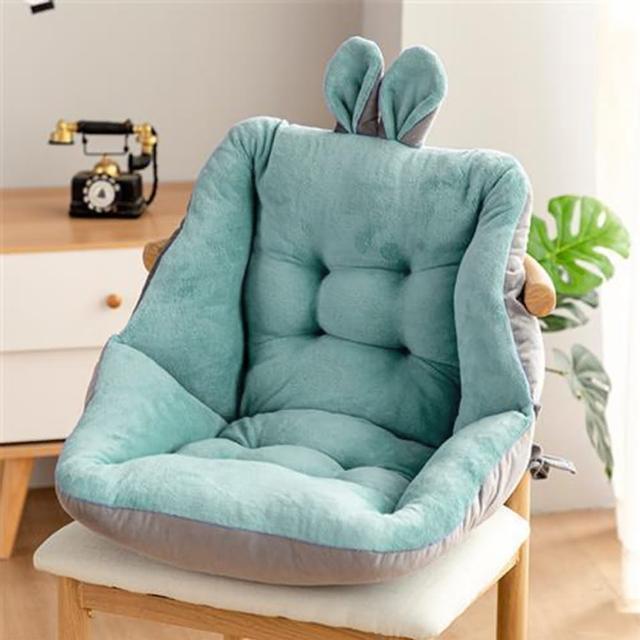 【Life+】童趣絨毛拚色保暖加厚護腰坐墊/靠墊 淺綠(速達)