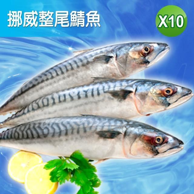【賣魚的家】正宗挪威整尾鯖魚(350G/尾 共10尾)